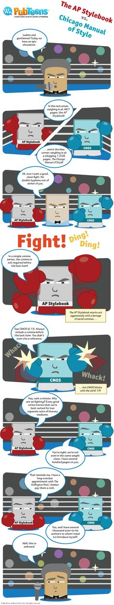 PubToons: AP Stylebook versus Chicago Manual of Style. For whom are you cheering?