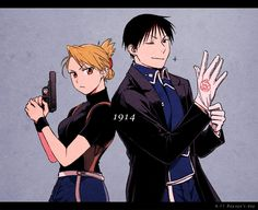 Riza and Roy, by Pixiv Id 9897280 Fullmetal Alchemist Brotherhood, Edward Elric, Der Alchemist, Anime D, Alphonse Elric, Roy Mustang, Another Anime, Anime Ships, Anime Couples