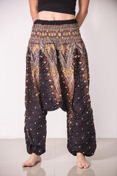 Peacock Feathers Low-Cut Women's Harem Pants in Black
