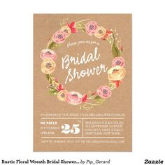 Rustic Floral Wreath Bridal Shower Invite