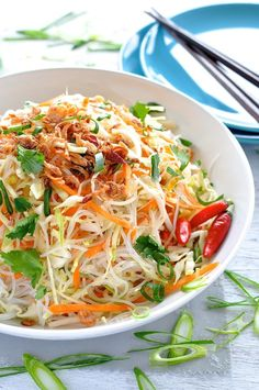 Asian Vegetarian Noodle Salad by recipetineats: A fresh and fast noodle salad that is a great accompaniment to mains from most Asian cuisines. #Salad #Noodle #Asian #Vegetaroan #Healthy #Light