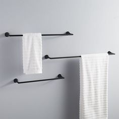 Shop black towel bar Clean straightforward silhouette in modern matte black elevates towels with chic sophistication. Pair with black wall hook to complete the look. black towel bars is a exclusive. Zen Bathroom, Towel Rack Bathroom, Bathroom Hardware, Bathroom Fixtures, Master Bathroom, Bath Towel Racks, Bathroom Small, Bathroom Ideas, Downstairs Bathroom