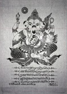 Thai traditional art of Ganesha by silkscreen printing on Natural colors cloth.