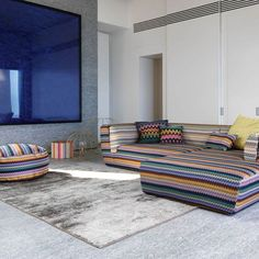 Missoni Home Lilium Multicolor collection, with Inntil sofa and pouf in Rajam.