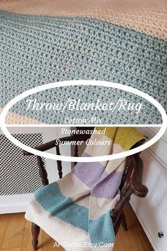 Sofa Throw, Bed Throw, Picnic Rug, Yoga Mat, Travel Rug... Striped Crochet blue, purple, pink, green, cream throw AHSknits.etsy.com #home #throw #blanket