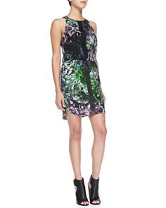 Sleeveless Floral Dress W/ Leather Strips at CUSP.
