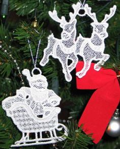 Advanced Embroidery Designs - Santa Lace Ornament Set