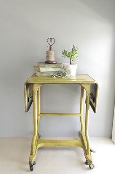 Vintage Metal Typing Stand Turned Nightstand. $ 1.50 | Vintage | Thrift |  Pinterest | Industrial, Middle And Metals