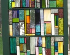 stained glass sash windows | Vintage Wooden Window with stained glass brightly colored strips ...
