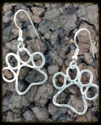 Dog Paw Earrings   Perfect gift for your friends with Furbabies! Plus we have a matching Paws & Bones Bracelet too!  Handcrafted with 18 gauge argentium silver, the earrings are approximately 1½ inches long and 1 inch wide.     $50.00