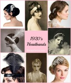 History of 1920s headbands, head dresses, combs, and tiara's. Everything for a well dressed head.  http://www.vintagedancer.com/1920s/six-1920s-headband-styles-you-can-wear-today/