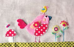 This is the finished applique/embroidery for the bag I am making for my niece, that matches the purse. Bird Applique, Applique Fabric, Sewing Appliques, Applique Patterns, Embroidery Applique, Cross Stitch Embroidery, Fabric Art, Fabric Crafts, Sewing Crafts