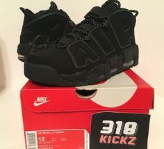 10786e56da9 Nike Air More Uptempo Triple Black Reflective Sz 12 Mens With Box  (414962-004
