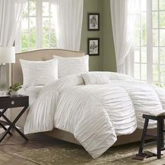 4-Piece Delancey Duvet Set in White