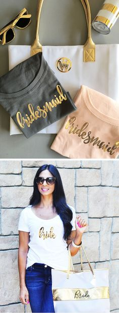 Bride and Bridesmaid Shirts Set of 6 , 7 , 8, 9 , 10 or set of 4 or 5 - YOU CHOOSE QTY  (EB3160BPW)