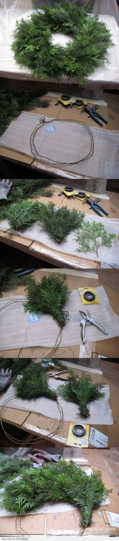 21 Brilliant DIYs for Christmas Wreaths: Christmas Tree Wreath - Diy & Crafts Ideas Magazine Christmas Tree Wreath, Xmas Wreaths, Christmas Love, Christmas 2017, Rustic Christmas, Winter Christmas, Cottage Christmas, Xmas Crafts, Christmas Projects