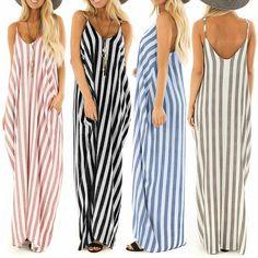 414c68b9abe Casual Maxi Dresses Women V Neck Pockets Loose Short Sleeve Solid Color  Sundress