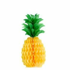 """12"""" Tissue Pineapple by Century Novelty. $2.95. Spice up the Luau Party with Something Different The Tissue Pineapple is an attractive decoration for your Luau party at an affordable price that keeps your check book as happy as your Luau guests. And since a tropical party is not complete until everything is Hawaiian, this pineapple is perfect for anywhere because you can simply hang it from the ceiling or set it on a table. 12"""" from top to bottom. 3 1/2"""" base. The ..."""