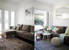Before & After living Sofa, Couch, Room Accessories, Furniture, Home Decor, Houses, Living Room, Bedroom Accessories, Settee