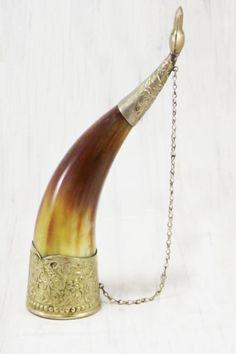 Hand carved brass celtic rim Viking drinking horn /& leather holder for beer wine