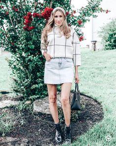 Fall outfit with a denim mini skirt @instinctivelyenvogue  #fashionblogger #fashion #chicwish #fallfashion