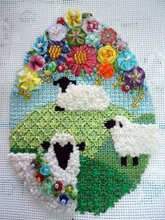 carolyn hedge baird stitch guides – needlepoint, Easter egg with sheep and flowers