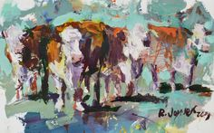 "Abstract Hereford Cow Painting, mixed media on paper, measures 22"" x 30"". Unique, loose and colorful cow artwork. Enjoy :)"