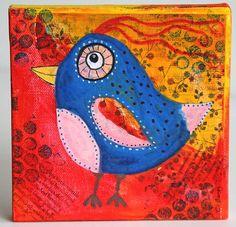 Quirky Bird Mixed Media Painting 6x6 Original on by CarolaBartz, $35.00