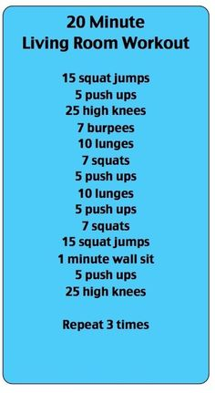 Your 20 Minute Living Room Workout | #workout #fitness #health #wellness
