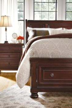 Porter King Sleigh Bed, Rustic Brown