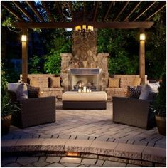 Outdoor Stone Fireplaces, Outdoor Fireplace Designs, Outdoor Patio Designs, Backyard Fireplace, Outdoor Kitchen Design, Backyard Patio, Fireplace Ideas, Fireplace Modern, Fireplace Remodel