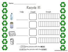 Recycle It! Tally, Count, and Graph activity