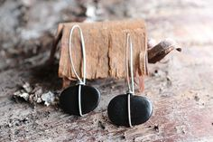Sterling silver wrapped river stone earrings by rebeccabashara