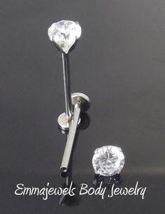 "2-16g 5/8"" 16mm CHEEK PIERCING STUD Jewelry Dimple Maker 5mm CZ Prong Set Stone"