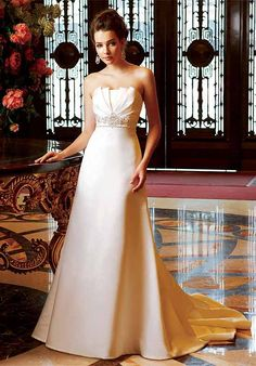 Artistic Satin Beads Working Empire Wasit Chapel Train Wedding Gowns