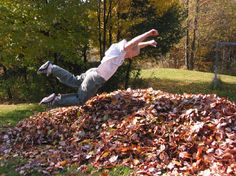 hopping into and kicking fallen leaves