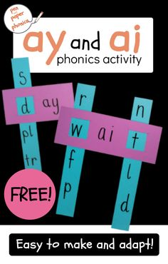 This simple activity is a great way to reinforce the positions of the 'ay' and 'ai' spelling choices. Knowing how to spell words with this sound will always help in word recognition and reading… Learning Phonics, Phonics Lessons, Phonics Games, Preschool Learning Activities, Spelling Games, Spelling Activities, Pronoun Activities, Phonics Worksheets, Teaching Aids