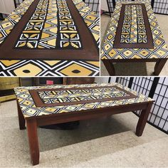 😍😍Another Hand-painted NZO-African Style piece by Uhuru Furniture! DIY hand painted coffee table #handpainted #diy #instadaily #furniture #African #diycoffeetable