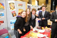 Pupils enjoying traditional food from different countries.