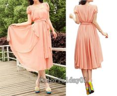 Wedding Guest Dresses Custon 69 00 Women S Princess Pink Chiffon Long Dress Cirference Short Sleeve Maxi Skirt