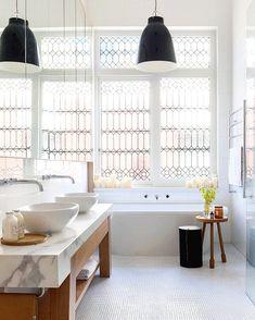 leaded glass windows in a modern bathroom