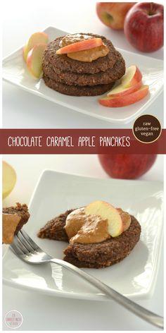 Raw, gluten-free, vegan Chocolate Caramel Apple Protein Pancakes with @plantfusion. On An Unrefined Vegan.