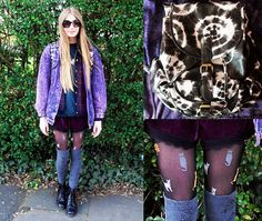 Isabella Barter - Loving Strangers | LOOKBOOK Urban Outfitters Sunglasses, Urban Outfitters Shorts, Levis Jacket, Tk Maxx, Knee High Socks, Fashion Socks, Primark, Dr. Martens, Tights