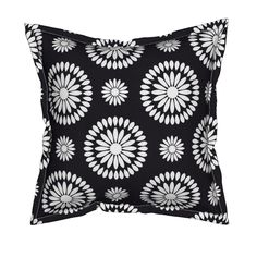 Serama Throw Pillow featuring White Petals on Black by Cheerful Madness!! by…