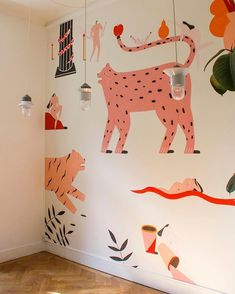 Stylish & Chic Kids Room Decorating Ideas - for Girls & Boys Animal wall art for kids' roomAnimal wall art for kids' room Art Wall Kids, Art For Kids, Cool Wall Art, Kids Interior, Wallpaper Wall, Room Decorations, Kids Bedroom, Kids Rooms, Room Boys