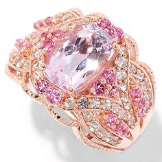 144-963- Gem Treasures® 14K Rose Gold 3.70ctw Cushion Cut Kunzite & Multi Gem Ring