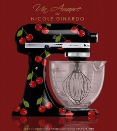 Duh, who doesn't love a cute cherry  Custom painted KitchenAid pattern?!!!