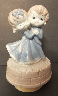 Vintage Enesco Dancing Boy & Girl Figurine Music Box