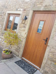 in Golden Oak with Solidor Solidor Door, Composite Door, Golden Oak, Hallway Ideas, Exterior Doors, House Front, Garden Ideas, Garage Doors, Stairs