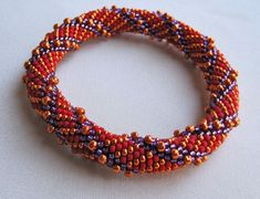 One of Linda Lehman's bead crochet bangles (pattern is listed in her Etsy shop, WearableArtEmporium).